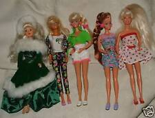 5 1990s Barbie Dolls plus Clothes Accessories Ice Skates Holiday Cowgirl Mermaid
