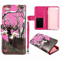 Pink Deer Camo Wallet Leather Flip Pouch iPod Touch 6 6th Gen  Case Cover