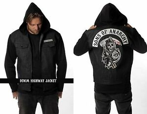 Sons Of Anarchy Black Denim Highway Reaper Patch Lined Jacket S-4xl MSOA6BD