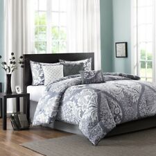 Luxury 7pc Grey & White Ogee Design Comforter Set AND Decorative Pillows