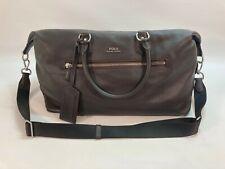 Mens Polo Ralph Lauren Brown Pebbled Leather Overnight Travel Duffel Bag (K5)