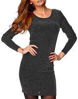 Ladies UK Plus Size 16 - 26 Black Silver Party Dress or Long Top