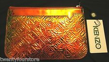 NWT $150 KENZO Flying Logo Iridescent Clutch Pouch Bag in Citron