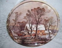 Vintage Currier and Ives Tin Box with Water Wheel and Homestead Winter Scene