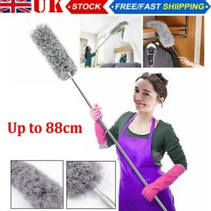 Extendable Feather Duster Telescopic Long Handle Microfiber Cleaning Brush UK