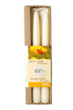 100% White Beeswax Dinner Candles x 2  (each candle: 2.2 x 25 cm)