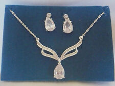 NEW Avon Pear Drop Pendant necklace & earring set white rhinestones prom, grad