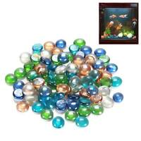 Colorful Round Pebbles Beads Stones Glass Nugget  For Fish Tank Aquarium Decor