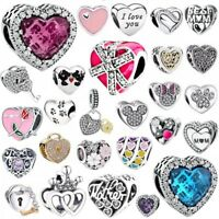 s925 sterling Love heart silver charms bead For European charms bracelet bangle