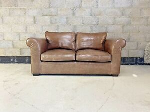 Laura Ashley Burgess Sofa Upholstered in Aged Tan Leather