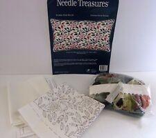 "Needle Treasures JCA Crewel Kit 00680 Flower Vines Linen Pillow 18"" x 11""Howes"