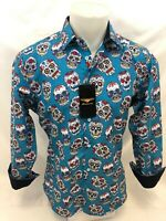 Mens PREMIERE Long Sleeve Button Down Dress Shirt TEAL BLUE ABSTRACT SKULL NWT