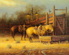 HD Canvas print Oil painting Horse Night At The Ranch NO Frame 14 Fj330