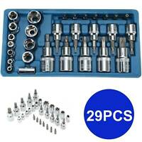 "29pc 1/4"", 3/8"" & 1/2"" Dr. Star/torx tamper-proof e socket Bit set male, female"