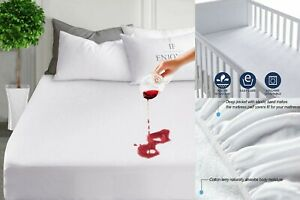 WATERPROOF TERRY TOWEL MATTRESS PROTECTOR EXTRA DEEP FITTED SHEET SIZE NO RUSTLE