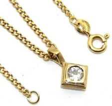 Ladies womens 18carat 18ct yellow gold and diamond pendant with 19 Inch chain.