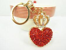 KC003 Crown Red Heart Keyring Rhinestone Crystal Charm Pendant Key Chain Gift