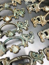 Vintage French Provincial Metal Drawer Pull Hardware Old Stock Aged Patina