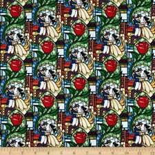 Fat Quarter Disney Beauty and the Beast Stained Glass Cotton Quilting Fabric