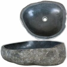 vidaXL Basin River Stone Oval 30-37cm Sink Washing Bowl Toilet Natural Stone