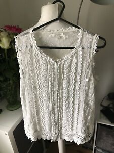 River Island Victorian Lace Style Blouse Cream Size 14