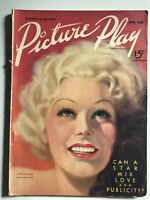 Picture Play Magazine April 1936 JEAN HARLOW Cover Errol Flynn RARE!!