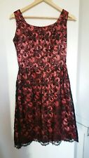 LADIES VINTAGE BLACK LACE & PEACH SATIN HAND MADE 50's COCKTAIL DRESS  10/12