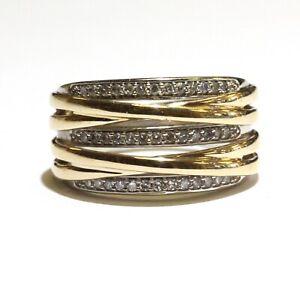 14k yellow white gold .27ct VS1 G diamond cluster ring 7.2g estate 6