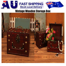 Wooden Oversize Vintage Treasure Chest Wood jewelry Storage Box Case AU Stock