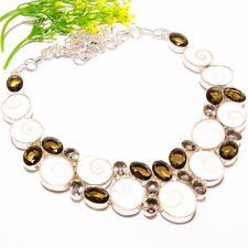 "Fashion Jewelry Necklace 18"" Sn-490 Shiva Eye Shell, Smokey Quartz Gemstone"