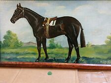 Antique Horse painting, War Admiral by McNeil 1940s,  Oil on canvas  paper board