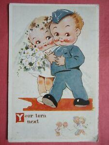 WORLD WAR 2 COMIC POSTCARD WEDDING MARRIAGE 1941 HASLEMERE SURREY PHOTOCHROM WW2