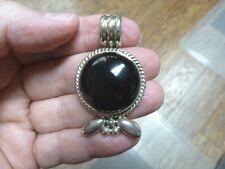 (J-63) jet Black onyx gemstone gem circle leaf design sterling silver PENDANT
