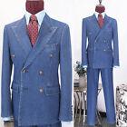 Men Denim Blue Suits Double-breasted Peak Lapel Six Button Formal Tuxedos Slim