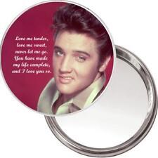"NEW Unique Button Mirror. Image of Elvis Presley ""Love me tender..."""