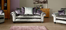 """Marilyn Crushed Velvet 3 Seater & 3Seater Sofa Set""""Silver""""Many Colours Available"""
