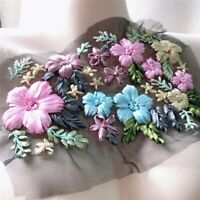 3D Flower Embroidery Bridal Lace Applique Ribbon Trim Tulle DIY Wedding Dress