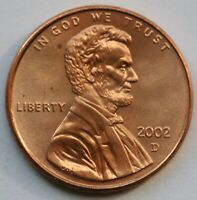 2002 D Lincoln Memorial Cent BU US Coin