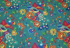 "RICHLOOM PREEN PEACOCK TEAL BLUE BIRDS LINEN MULTIUSE FABRIC BY THE YARD 54""W"