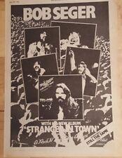 Bob Seger Stranger In Town 1978 Edición Anuncio Completo Páginas 28x 39cm Póster