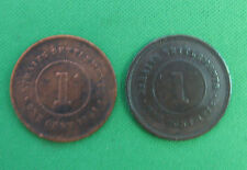 1872 1894 one cent Straits Settlements lot of 2 coins circulated