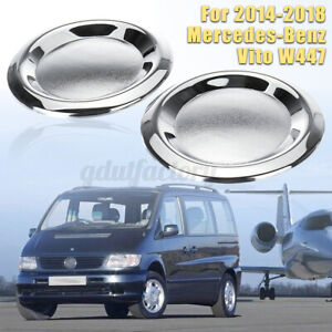 Pair Front Chrome Fog Light Lamp Cover Trim For Mercedes-Benz Vito W447  NEW Q
