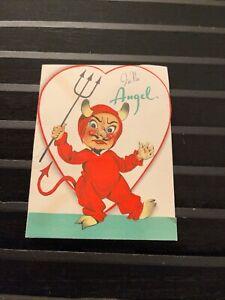 Vintage Greeting Card Valentine Devil Boy Heart