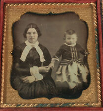 DAGUERREOTYPE WOMAN AND YOUNG CHILD, TINTED. JAMES GREENE, ALBANY, N.Y.