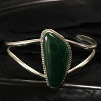 BEAUTIFUL VINTAGE ESTATE STERLING SILVER HAND MADE LARGE MALACHITE CUFF BRACELET