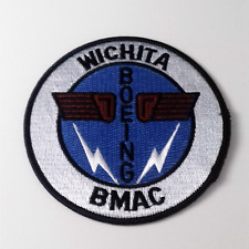 "Wichita Boeing BMAC 3"" Round Patch NEW Embroidered Military Airplane Grey Blue"