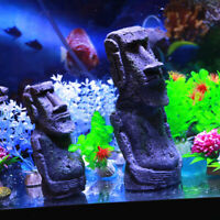 2pcs Easter Island Moai Statues Fish Tank Ornament Aquarium Decoration Landscape