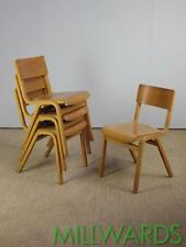 FREE DELIVERY Set of 4 Vintage Stacking Wooden School Chapel Tecta Cafe Chairs