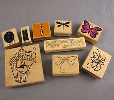 Lot of 9 Rubber Stamps Mounted on Wood Scrapbooking Card Making Paper Crafts