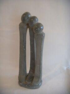 """Vintage Modernist Soapstone carving 3 figures signed Skas Manyore 10.5"""""""